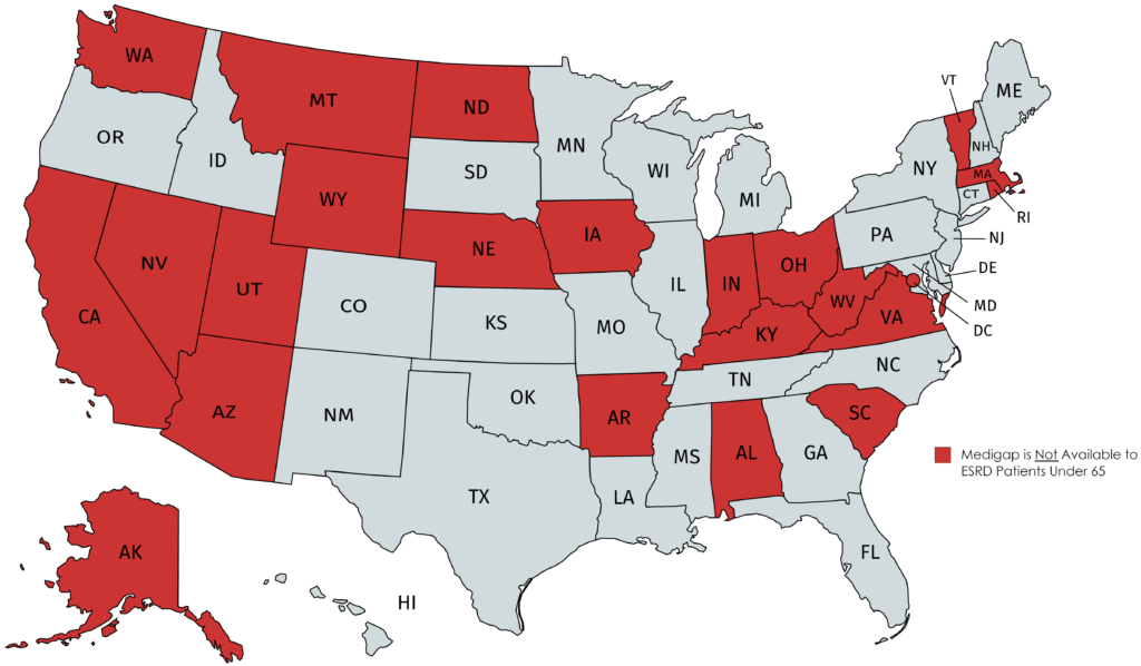 Map of the United States that identifies states in red that do not guarantee access to Medigap for dialysis patients under age 65.