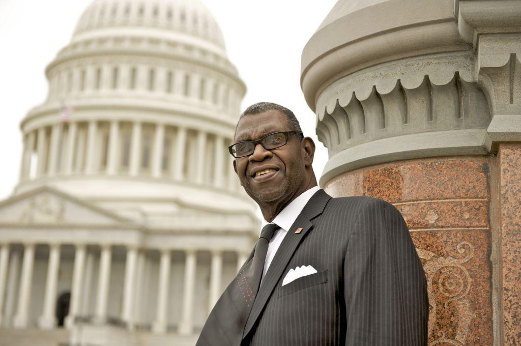 DPC Patient Ambassador standing in front of the Capitol building