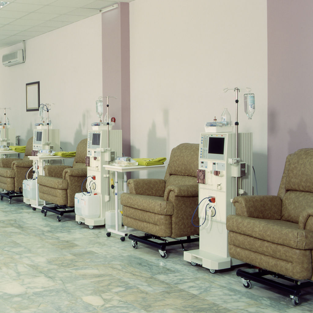 row of chairs at a dialysis facility
