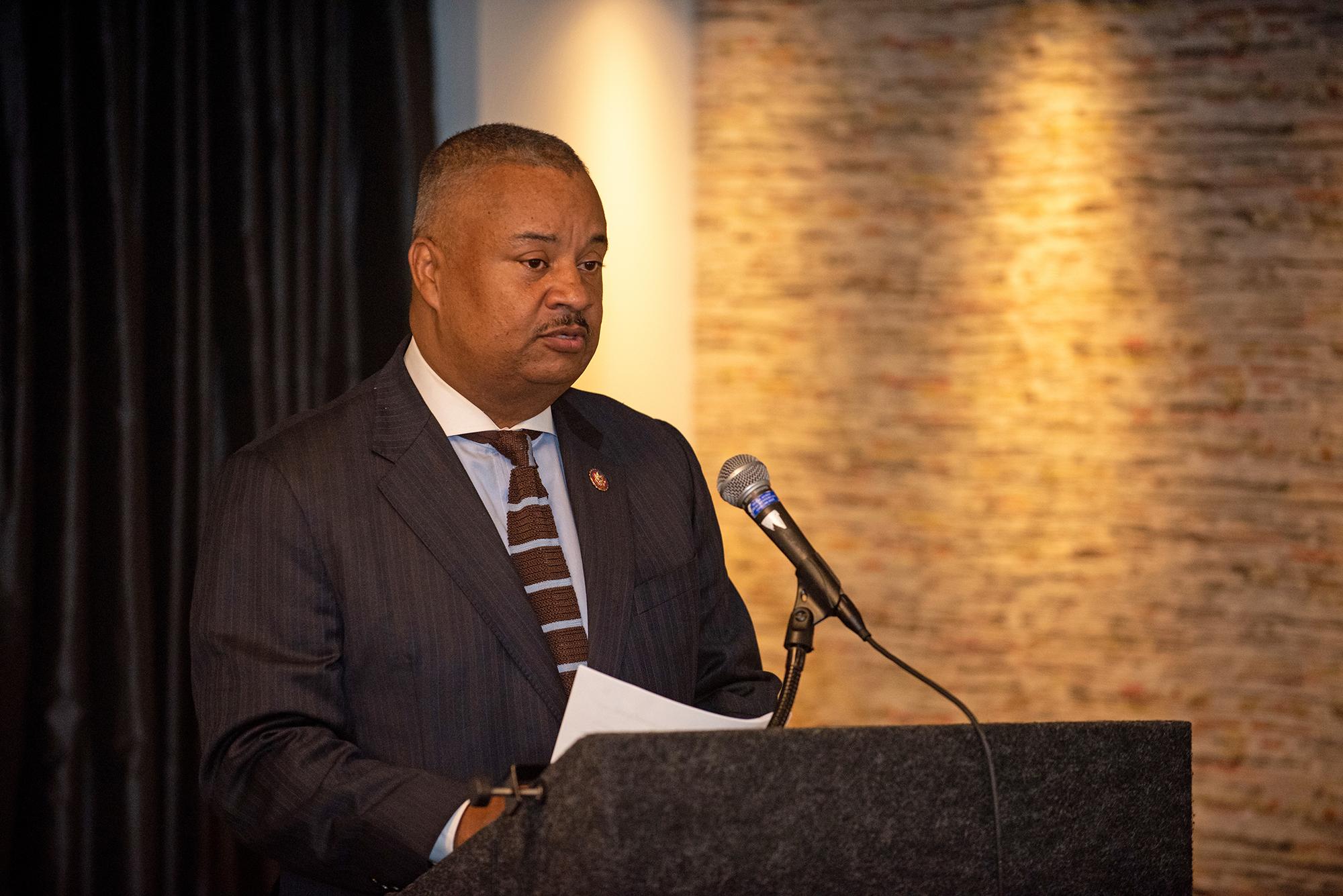 Donald Payne Jr. speaking at a podium